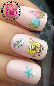 NAIL ART WATER TRANSFERSDECALS SPONGEBOB SQUAREPANTS PATRICK STAR - Spongebob nail decals