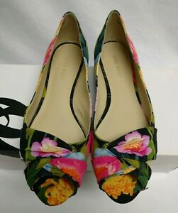 Nine-West-JADENE-Women-039-s-Peep-Toe-Pretty-Floral-Flats-MSRP-79-Size-7-M