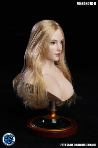 SUPER DUCK SDH018 B 1//6 Long Hair Female Head Carving F 12/'/' Pale Body Figure