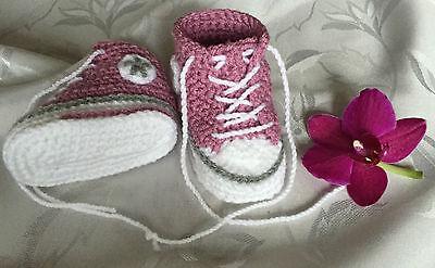 Babychucks Babyschuhe gehäkelt altrosa ca.4-8 Monate Sohle 10cm