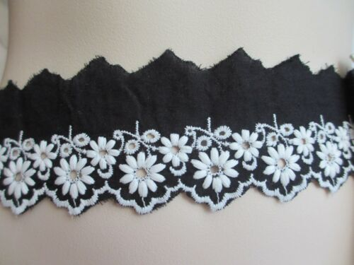 "2/"" Wide Black Cotton Blend with  Embroidered Bright WHITE Flower Design BTY"