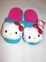 Girl's Hello Kitty Aqua Plush Slippers - Size Small (5-6) -