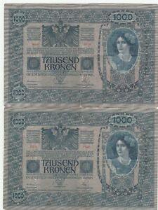 Austria-1000-Kronen-Kroner-1902-Banknotes-Papermoney-Lot-of-2