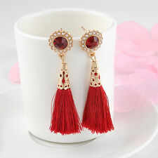 Retro Fashion Womens Red Crystal Ear Stud Long Tassel Dangle Earrings Jewelry