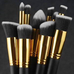 10X-Black-Makeup-Brush-Set-Cosmetic-Eyeshadow-Face-Powder-Foundation-Lip-Brush-R