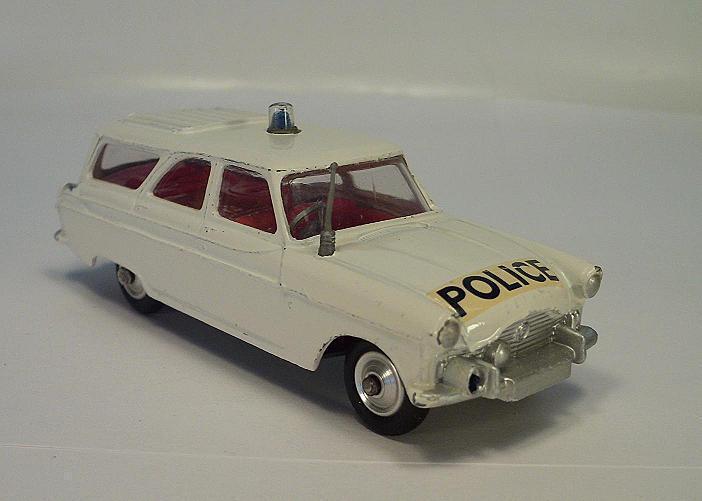 Corgi toys 419 Ford Zephyr motorway patrol car Police gran luz blu,