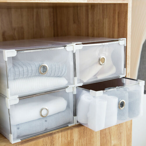 1pcs-XL Plastic Shoe Storage Boxes Drawer Clear Organiser Container Stackable.