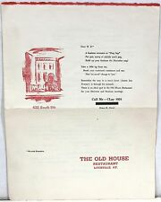 "1954 Menu and Wine List from ""The Old House"" Restaurant – Louisville KY"