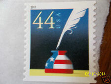 Patriotic Inkwell & feather quill pen stars stripes flag USPS postage stamp