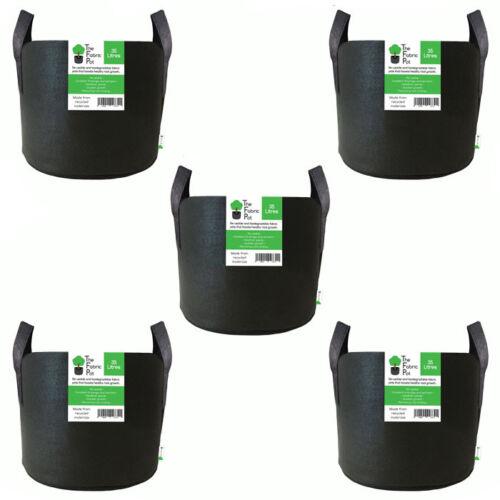 Hydroponic Fabric Pot 35L Litre x5 Black Smart Grow Aeration Container Bag Pouch