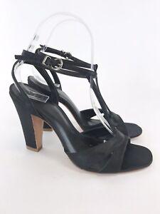 KG-Kurt-Geiger-Ladies-Black-Satin-Leather-Slip-On-Heel-Straps-Sandals-Shoes-UK5
