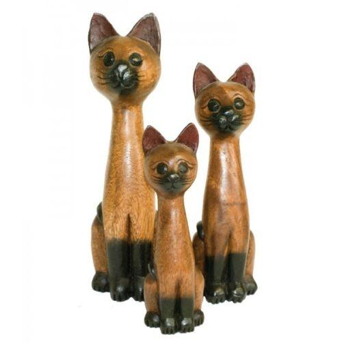 3er Set Katzen aus Akazienholz 20 25 30 cm Holzkatze Deko Holzdeko Holzfigur neu