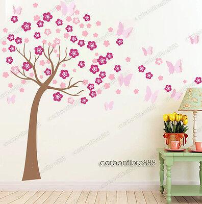 Huge 3D Butterfly Pink Blossom Flower Tree Wall Stickers Art Decal Paper Nursery