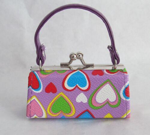 "Lavender Multi Color Heart Purse Fits 18/"" American Girl Dolls"