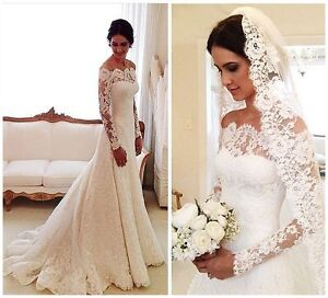 Vintage long sleeve lace wedding dresses off the shoulder for Long sleeve wedding dress for sale