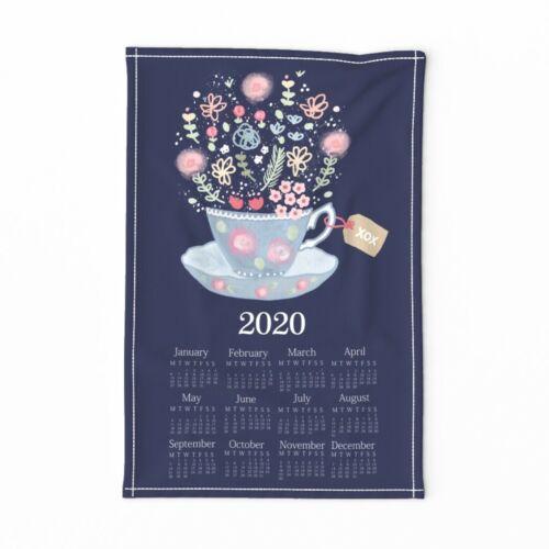 Spoonflower Tea Towel Tea Time 2020 Calendar Teacup Floral Flowers Linen Cotton