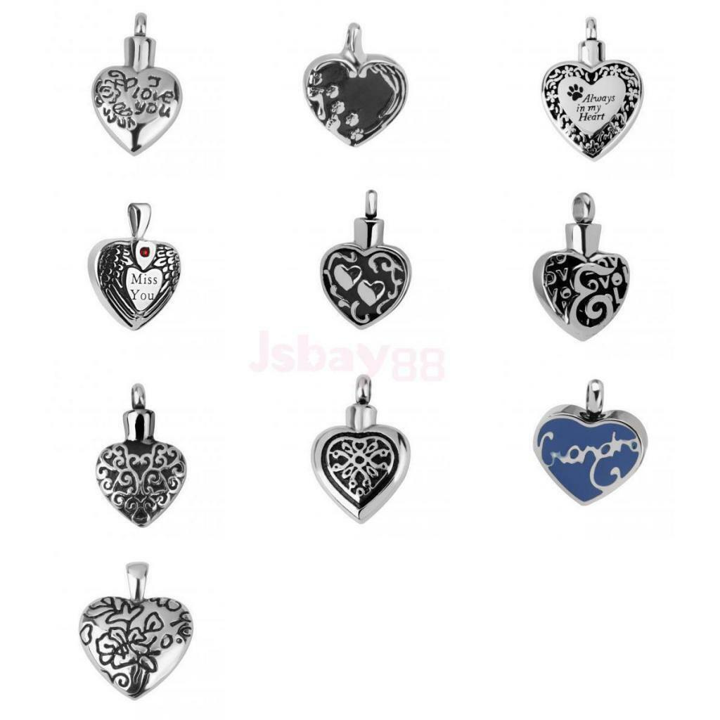 Silver Stainless Steel Double Heart Pendant Cremation Jewelry For Ashes Dog