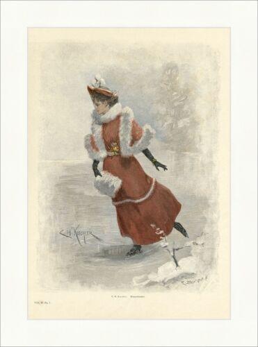 H Winterfreuden Schlittschuhlaufen Eis coloriert Holzstich E 8768 Küchler C