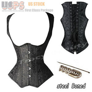 Black steel bones boned Waist Training Underbust lace up corset Top Shaper Neopr
