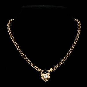 18K-Yellow-Gold-GL-Womens-Solid-Medium-Belcher-Necklace-amp-Crystal-Filigree-Heart