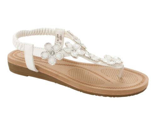 WOMENS WHITE GEM DIAMANTE TOE POST SUMMER BEACH EVENING SANDALS LADIES SIZE 3-8