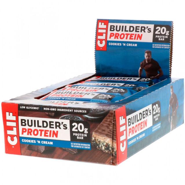 Clif Bar, Builder's Protein Bar, Cookies N' Cream, 12 Bars, 2.40 Oz (68 G) Each