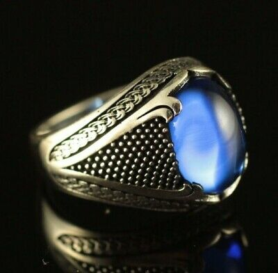 Turkish Handmade Jewelry 925 Sterling Silver Sapphire Men/'s Ring Size 9 10 11 12