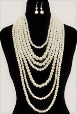 Long Statement Necklace Earrings Pearl Jewelry Set Cream Bead Gold Tone Chain