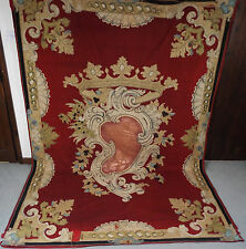 Antique French Armorial Coat of Arms Hanging Silk Heraldic  Applique CROWN