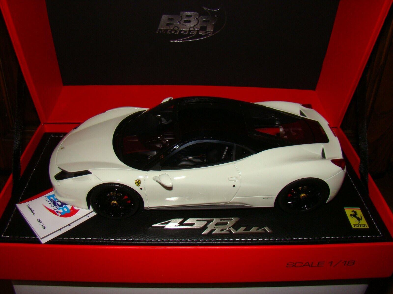 FERRARI 458 ITALIA  white BRILLANT TOIT black    BBR  1 18 EME   LIMITED EDITION