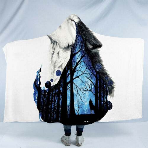 Missing You by Scandy Girl Wolf Kids Adult Sherpa Fleece Hooded Blanket Throw