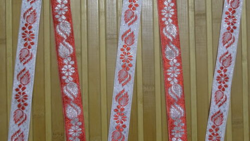 """5.50 Yd Jacquard Trim 1/"""" wide Woven Border Sew Embroidered Ribbon Lace T836"""