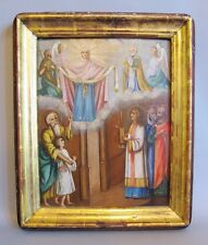 Museum-Quality 19th C. Hand Painted Russian Icon  c. 1870  Christian painting