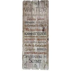 Shabby-Chic-Wandschild-Schild-Bild-Winter-Landhaus-Vintage-Holz-80-x-30-cm