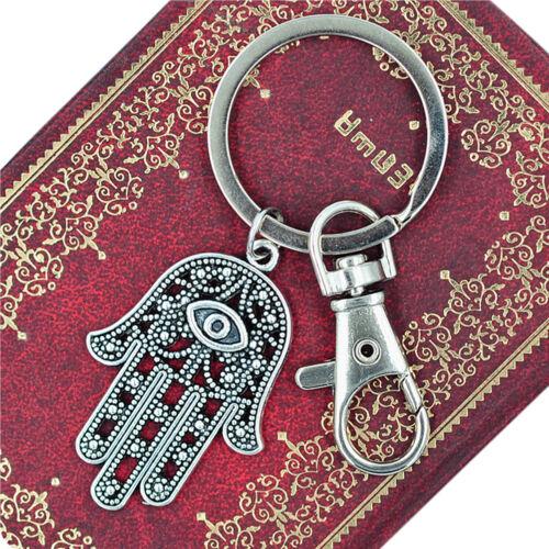 Fatima Hamsa Hand Viel Glück Auge Anhänger Schlüsselanhänger Ring GescheDDE