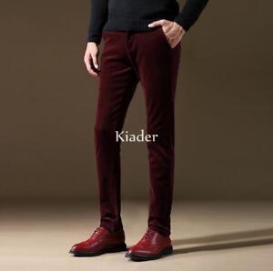 Mens-Comfort-Corduroy-Straight-Casual-Formal-Dress-Long-Slim-Fit-Pants-Trousers
