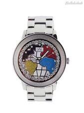 Softech Men's World Map Red Blue Silver Diamante Face Analog Quartz Metal Watch