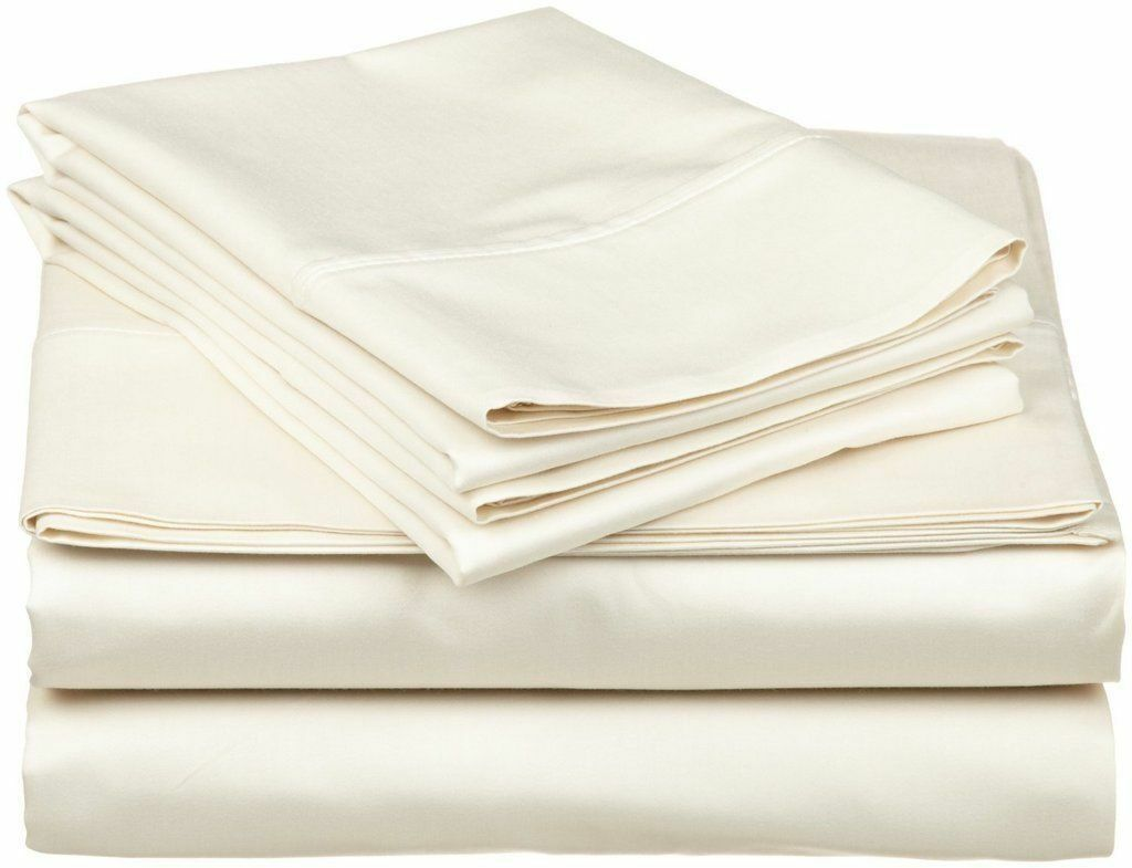 Fitted Sheet & 2 Pillowcase Ivory Solid 100% Cotton 800-Thread Count All Size -