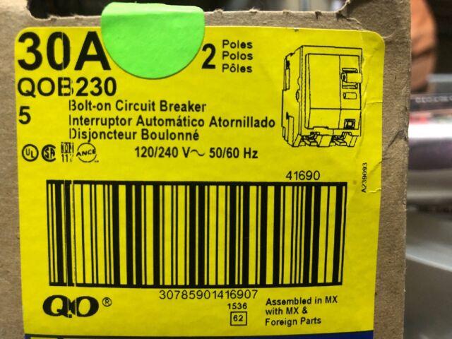 SQUARE D QOB QOB230 2 POLE 120//240V 30 AMP CIRCUIT BREAKER YELLOW BOLT ON FLAW