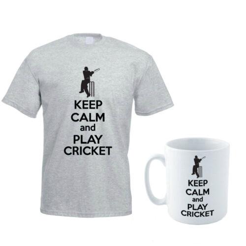 Keep calm and play cricket-sport//drôle//batteur homme t-shirt et mug set