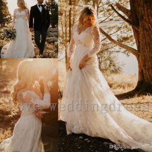 aba92043ffdf Plus Beach Boho Wedding Dress Vintage V Neck Bridal Ball Gown Custom ...
