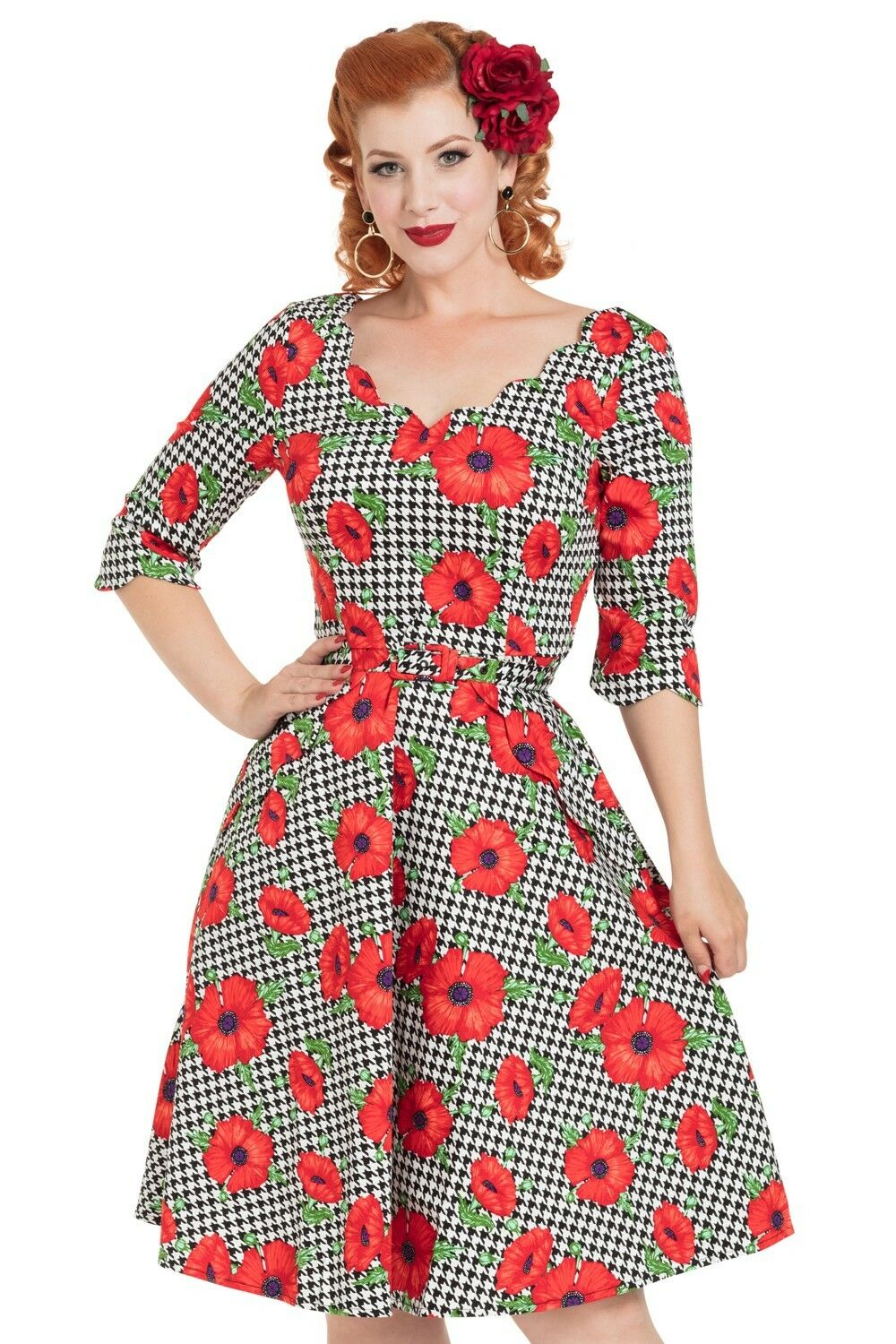 Voodoo Vixen Suzanne Poppy Print Dress DRA8081 Evening Bow Night out Party.