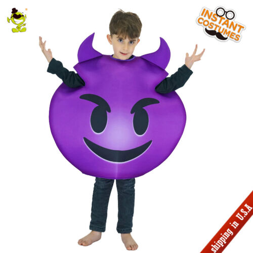 Devil Emoji Costume Carnival Party Evil Emoticon Cosplay Jumpsuit for Unisex Kid