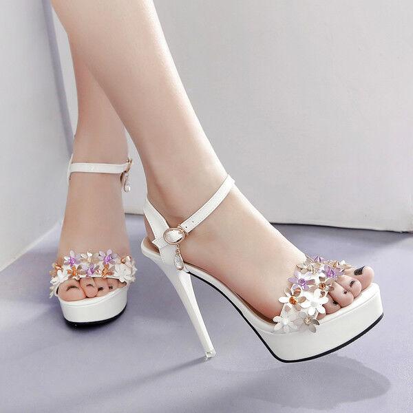 Sandali stiletto 12 cm bianco fiori spillo plateau pelle sintetica 1428