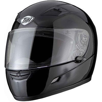 THH TS-39 Plain Solid Black Motorcycle Helmet Motorbike Moped Scooter Crash Lid