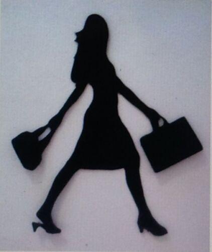 5 x LADY WALKING WITH HANDBAG SILHOUETTE  Die Cuts Quality Black Card