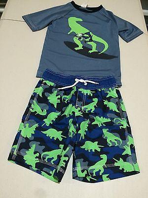 NWT Gymboree Boys Rash Guard and Swim trunk Set 2T,3T,4T,5T Dinosaur UPF 50+