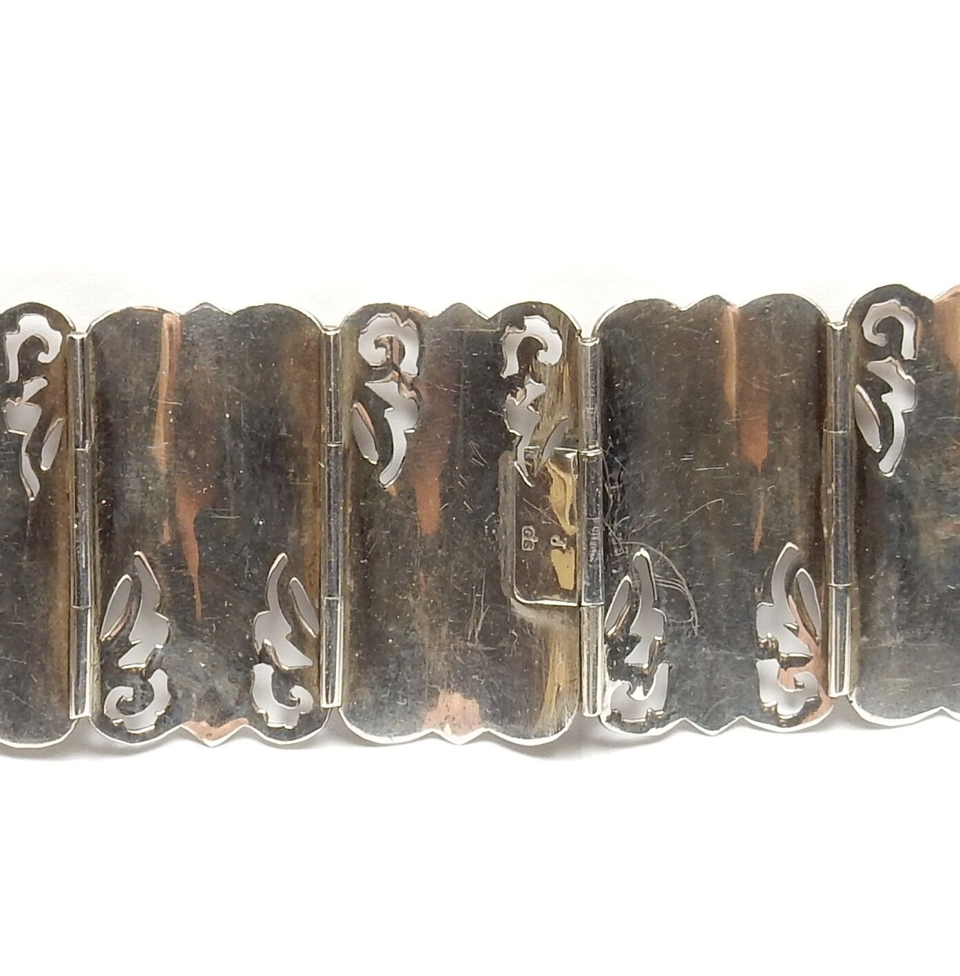 VINTAGE VINTAGE VINTAGE Grande argentoo 925 FILIGRANA IN SMALTO SIAM NIELLO ampio pannello Bracciale 59.2g f3cec7