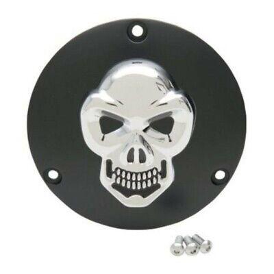 Drag Chrome w// Black Split Skull Derby Cover For Harley Twin Cam