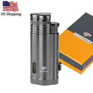 COHIBA-Metal-Windproof-3-Torch-Cigar-Cigarette-Lighter-Butane-Jet-Flame-w-Punch